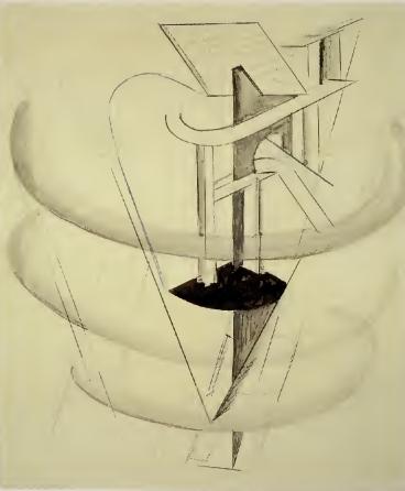 El Lissitzky, bocetos de la maquinaria para la ópera La victoria sobre el Sol (Galería Tetriakov y Modern Tate Museum).